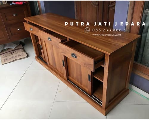 bufet tv pintu sliding