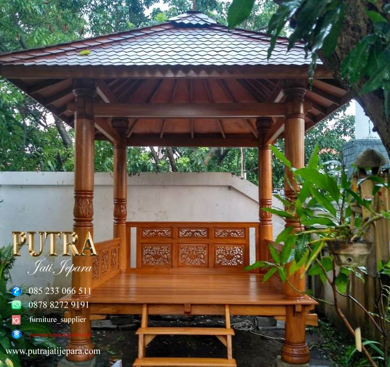 Gazebo Kayu Jati Warna Natural