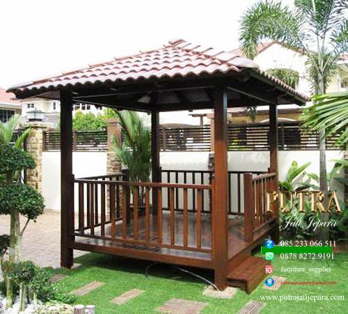 Gazebo Kayu Jati Warna Salak Walnut